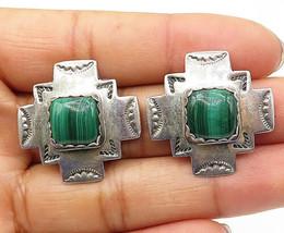 NAVAJO 925 Silver - Vintage Malachite Traditional Pattern Stud Earrings  - E4602 - $39.18