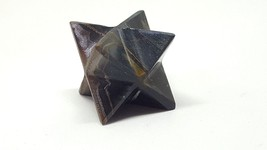 Merkaba Star,blue Tigers Eye, Energy Charged Natural Carved 3rd Eye Chakra - $18.50