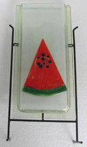 "Handmade Fused Glass Art ""Watermelon Design"" Floor Display Vase with Sta... - $299.99"
