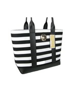Michael Kors Logo Purse Hand Bag Black White Striped Canvas & Leather To... - $207.89