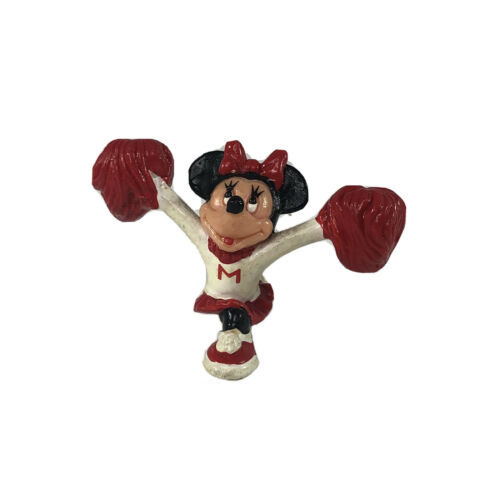 Disney Minnie Mouse PVC Figure Cheerleader Red Poms Cake Topper VTG Applause 88' - $19.79