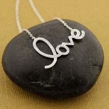 Round Cut Simulated Diamond Love Necklace Pendant Silver 14k White Gold ... - $75.00
