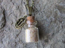 PINK BERMUDA BEACH SAND BOTTLE NECKLACE, ST. CATHERINE'S BEACH - ANCHOR ... - $24.81