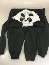 Nick & Nora M Panda Black White 1 Piece Fleece Pajamas Hooded Sleeper Un... - $43.61