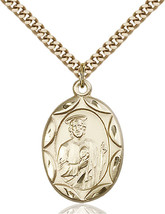 14K Gold Filled St. Jude Pendant 1 x 5/8 inch with 24 inch Chain - $143.12