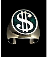 Oval shaped Heavy Sterling silver symbol ring US Dollar $ on Green ename... - $149.00+