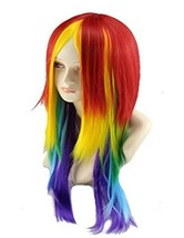 27.56'' Long Straight Rainbow Wig Multi Color Cosplay Wig For Women - $18.41