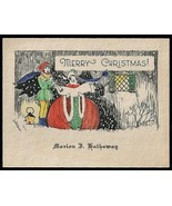Antique Greeting Card Pixie Elf Christmas Carols Scroll Lantern Graphic ... - $24.99