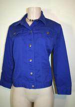 Ruby Rd Sz 10 Royal Blue 3/4 Sleeve Casual Favorites Stretch Jacket - $12.34