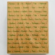 Flower Names Large Rubber Stamp Hero Arts Words Garden Floral Spring Bac... - $7.43