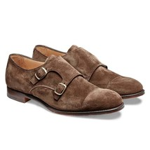 Handmade Men's Chocolate Brown Suede Double Monk Strap Shoes image 2