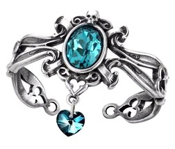 The Dogaressa's Last Love Ornate Bracelet Aqua Crystal Heart Skull Alche... - $64.95