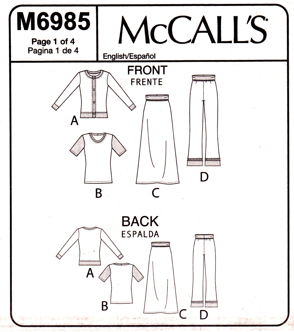 McCall's M6985 Girls Plus Top Skirt Pant Sewing Pattern Child Size 10 1/2-16 1/2