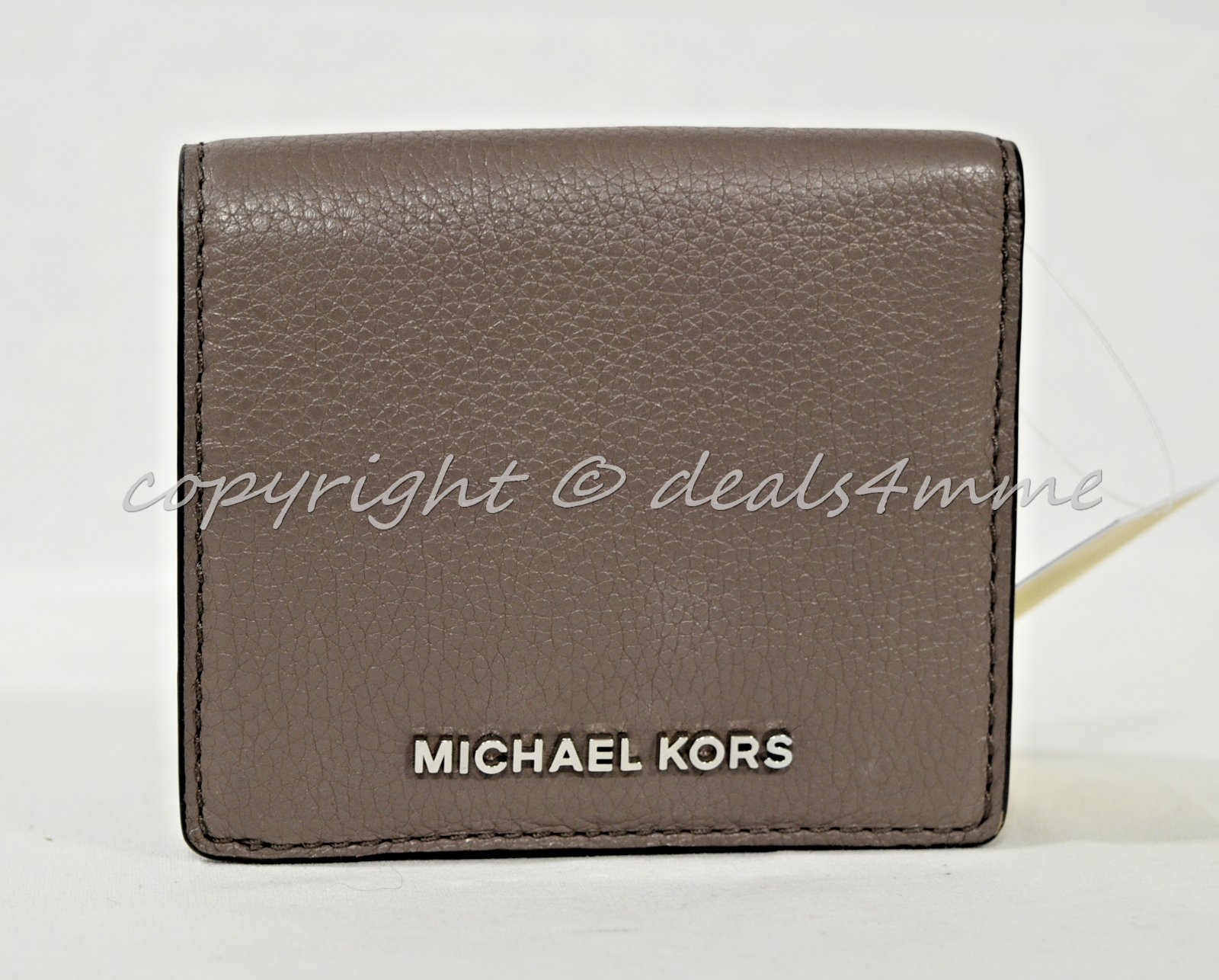 NWT Michael Kors Bedford Carryall Card Case in Cinder Grey Pebbled Leather