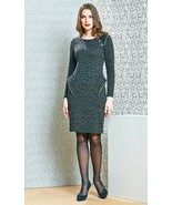 DRESS WEAR TO WORK COCKTAIL PARTY LONG SLEEVE COTTON MADE IN EUROPE S M ... - $89.00