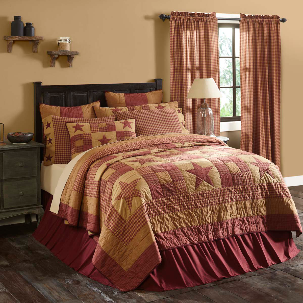 10-pc Ninepatch Star Burgundy and Tan (Queen) Quilt Set - Lots of Accessories!