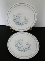Colonial Mist Corelle by Corning Dinner Plates Lot of Two Blue Flowers Blue Band - $16.71