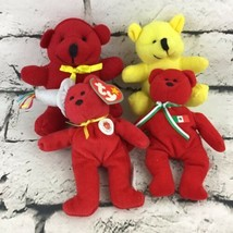 Mini Teddy Bears Lot Of 4 Plush Red Yellow Prayer Bear Ty McDonalds Stuf... - $9.89