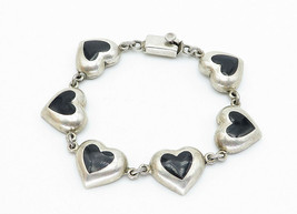 MEXICO 925 Silver - Vintage Black Onyx Love Heart Link Chain Bracelet - B5944 image 2