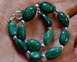 "N-2797 Emerald Ropara Gemstones Natural Spacer Oval 44ct 7x11-8x12mm 7"" ... - $12.86"