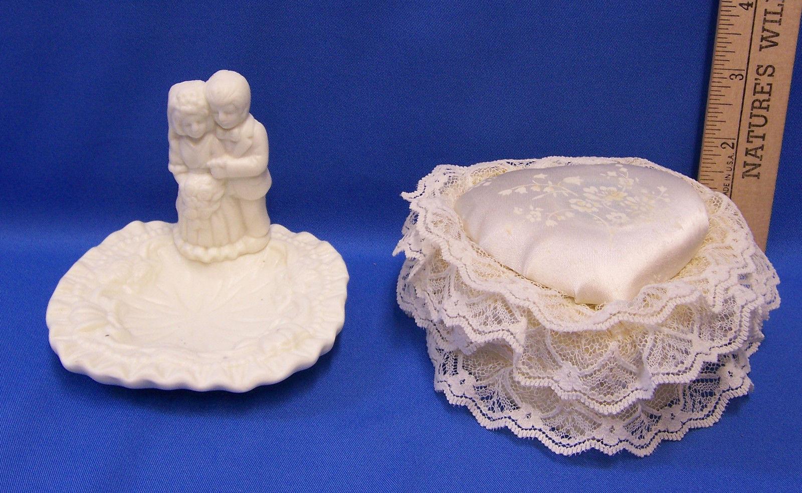 Jade Wedding Couple Ceramic Trinket Dish & Heart Shaped Musical Trinket Box
