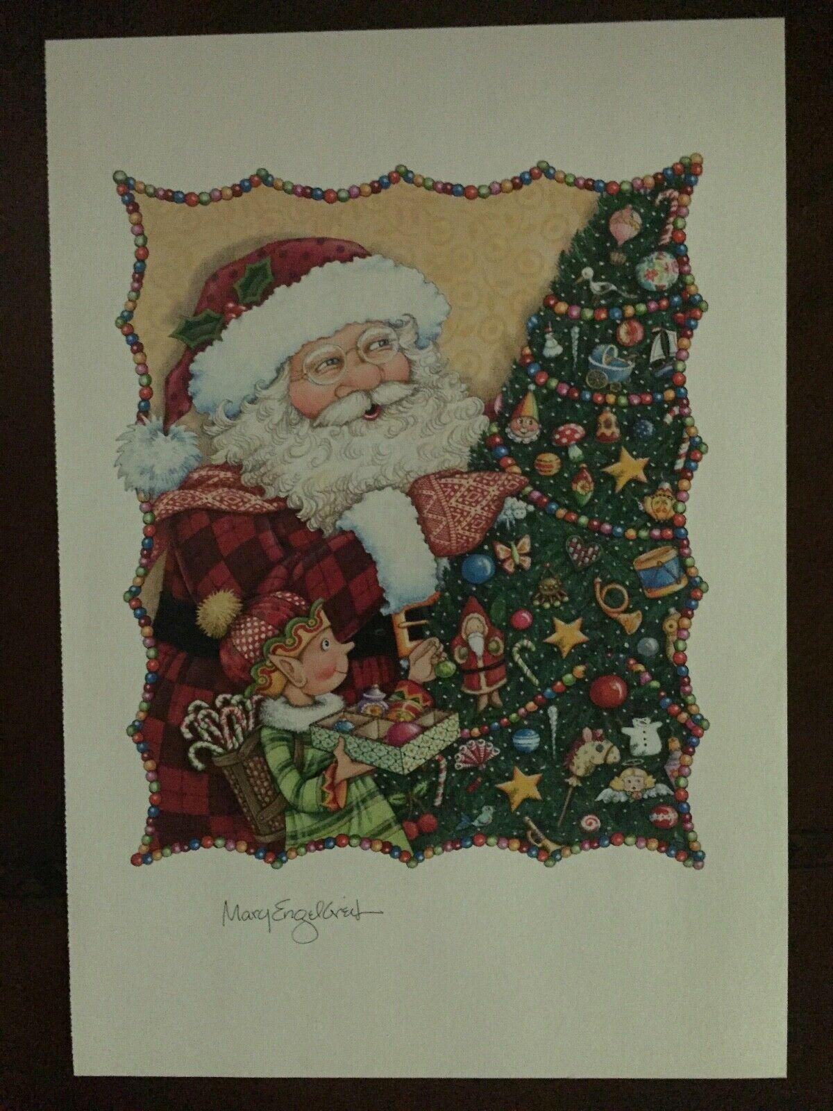 Mary Engelbreit  Santa and Elf Decorating Christmas Tree Art Print Unframed