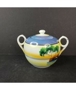 Vintage Lusterware Sugar Bow with Lid Lake with Swan Scene Hand Painted ... - $24.99