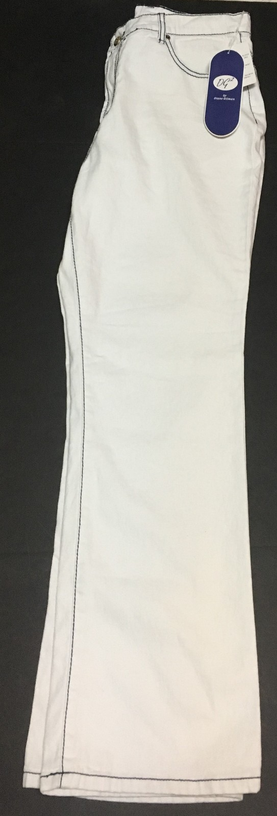 DG2 by Diane Gilman White Black Trim Jeans Women's Sz 14 NWT