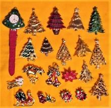 20 pcs Vintage Christmas Tree Pins Brooches Watch Earrings Enamel Rhinestones - $189.00