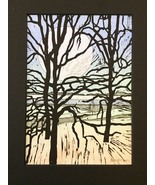 "Woodblock Print: Riverside Variation 9 (Limited Edition) Matted to 8"" x 10"" - $25.00"