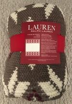 "NWT Ralph Lauren Throw Blanket Red Cream Brown Print Fleece Plush 60"" x 70"" - $65.25 CAD"