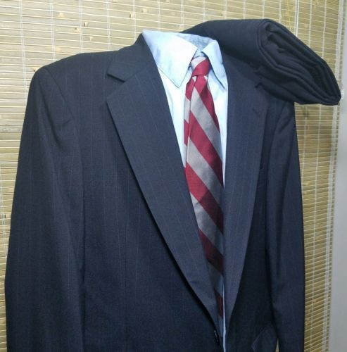 Warren Scott Mens Stripe Suit Wool Blend 2 button 44L 38X45 pleated Polish made