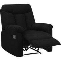 Black Recliner Chair Den Man Cave Living Room Furniture Polyester Microf... - $395.99