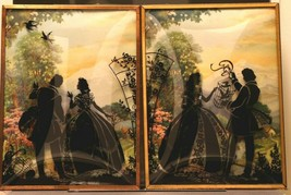 """Set of 2 Convex Glass 6 1/2"""" X 8 1/2"""" Silhouette Pictures Colonial Couple 125"""