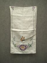 Tea Towel 38 In Kitchen Bathroom Crewel Embroidery Hand Stitch Floral Butterfly image 3