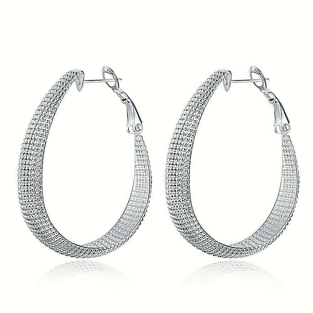 Primary image for Mesh Loop Earrings 925 Sterling Silver NEW