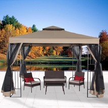 Garden Gazebo Canopy 10' x 10' Patio Double Roof Vented w/ Mosquito Nett... - $189.99