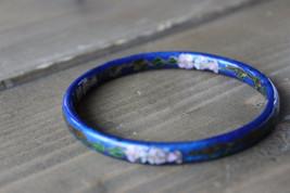 Vintage Estate Closionne Blue Enamel Flower Bangle 6.5cm inner diameter - $34.65