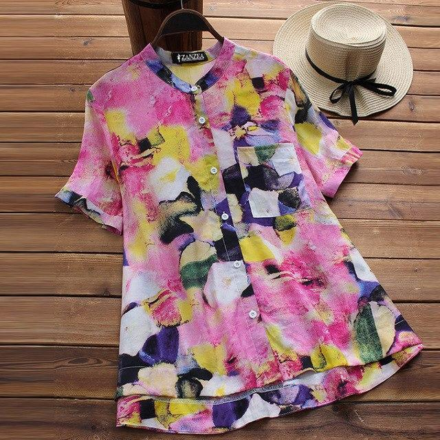 S 5XL ZANZEA 2018 Women O Neck Short Sleeve Work Blouse Casual Vintage Boho Flor