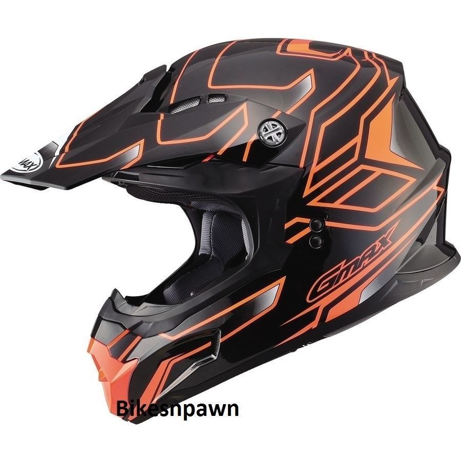 New Black/Orange S Adult GMax MX86 Offroad Helmet DOT & ECE 22.05 Approved