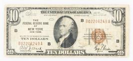 1929 $10 National Currency NEW YORK USA Brown Seal NY Hamilton - $98.99