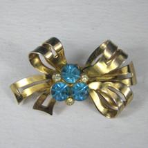 Coro Brooch Bow Goldtone Pin 1.5 Inches' Rhinestones Blue Ribbon - $29.69