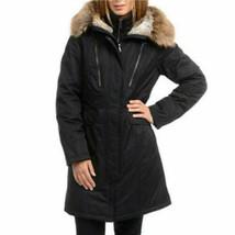 1 Madison Expedition Parka Coat Womens Black Anorak Faux Fur Hood L XL image 2
