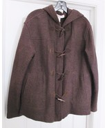 Jones New York Women's Coat Jacket 100% Wool Toggle Hood Unlined Brown M - $34.95