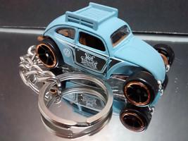 VW Beetle Key Chain Ring Hot Rod Splitty Volkswagen Light Blue - $12.82