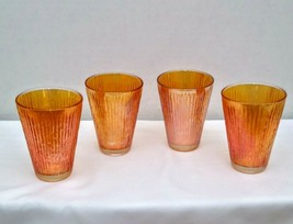 Vintage Jeanette Tree Bark Marigold Gold Carnival Glass Juice Tumblers 3... - $19.95