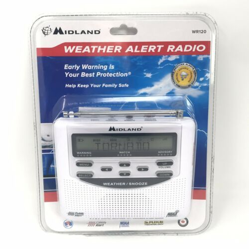 White Midland Emergency Weather Alert Radio Alarm Clock Model WR-120