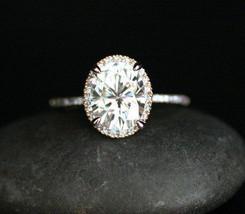 3.00ct Oval Cut Diamond Engagement Wedding Bridal Ring Set 14K Rose Gold - $5.309,85 MXN