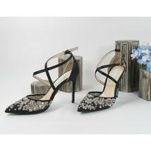 Betsey Johnson Leila Crystal Floral Black Satin Wedding High Heels 8.5 NIB - $73.76