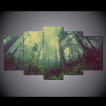5 Pcs Forest Green Fog Home Decor Wall Picture Printed Canvas Painting - $45.99+